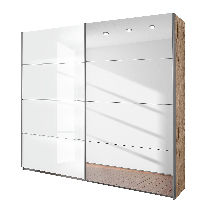 goedkoop Schuifdeurkast Quadra spiegel lichte San Remo eikenhouten look hoogglans wit BxH 226x210cm Rauch Packs