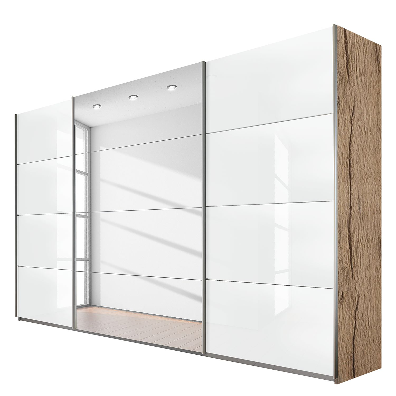 goedkoop Schuifdeurkast Quadra spiegel lichte San Remo eikenhouten look hoogglans wit BxH 315x230cm Rauch Packs