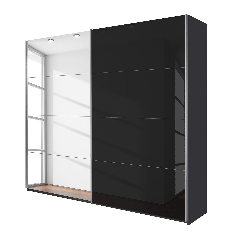 goedkoop Schuifdeurkast Quadra spiegel Grau metallic grijs metallic BxH 136x210cm Rauch Packs