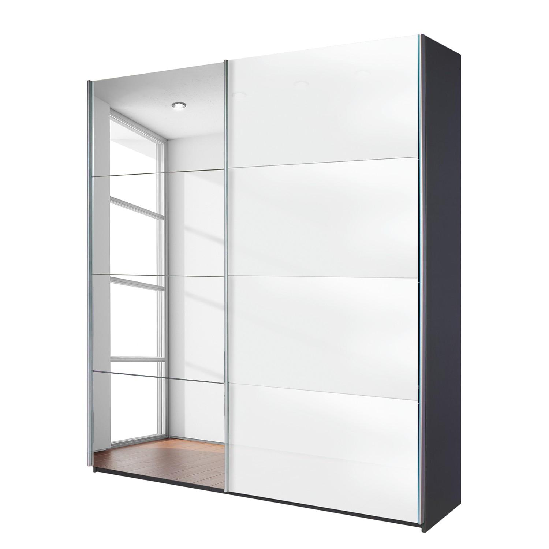 goedkoop Schuifdeurkast Quadra spiegel grijs metallic wit glas BxH 136 230cm Rauch Packs