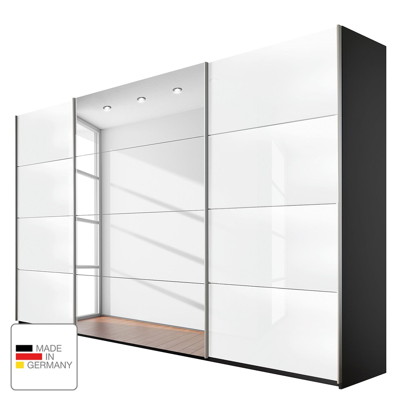 goedkoop Schuifdeurkast Quadra spiegel grijs metallic wit glas BxH 315 230cm Rauch Packs