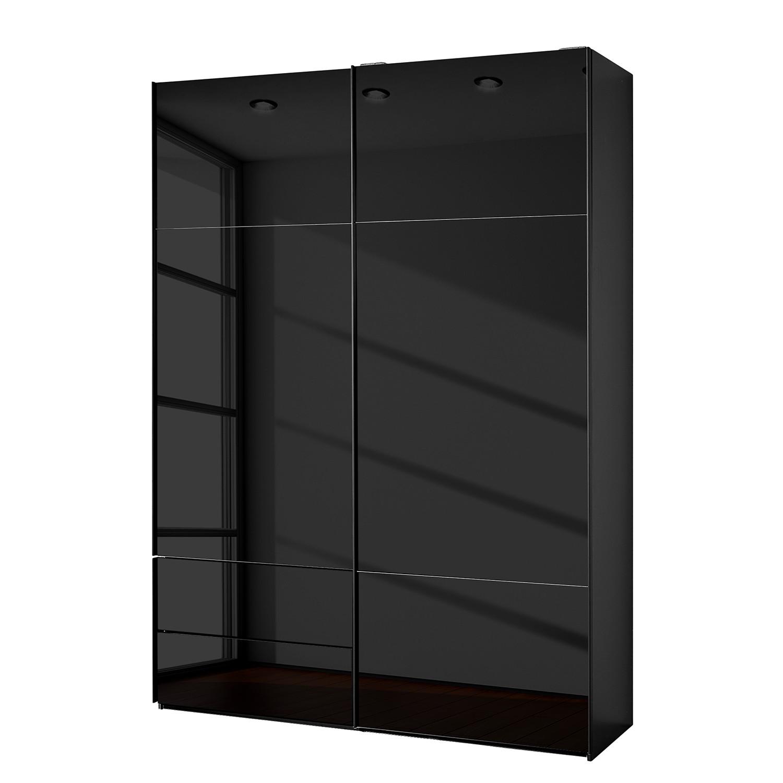 goedkoop Zweefdeurkast Samaya Zwart glas Zwart 162 cm 2 deur 223cm Zonder spiegeldeuren Studio Copenhagen