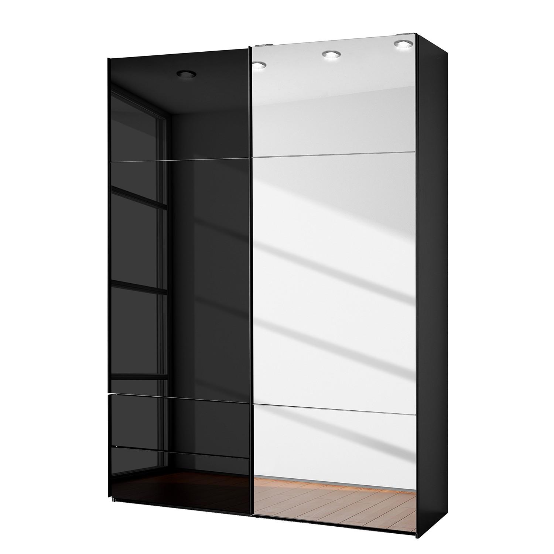 goedkoop Zweefdeurkast Samaya Zwart glas Zwart 162 cm 2 deur 235 cm Met spiegeldeuren Studio Copenhagen
