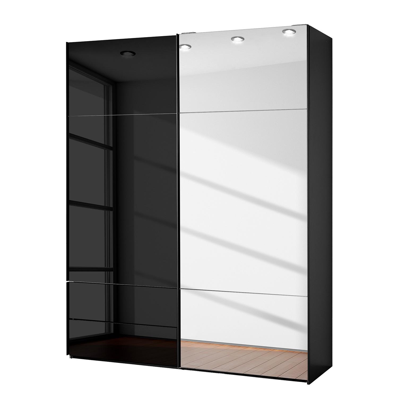 goedkoop Zweefdeurkast Samaya Zwart glas Zwart 181cm 2 deurs 223cm Met spiegeldeuren Studio Copenhagen