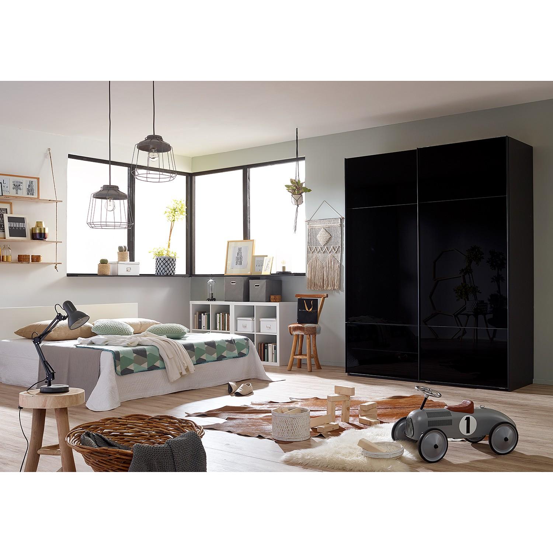 goedkoop Zweefdeurkast Samaya Zwart glas Zwart 181cm 2 deurs 223cm Zonder spiegeldeuren Studio Copenhagen