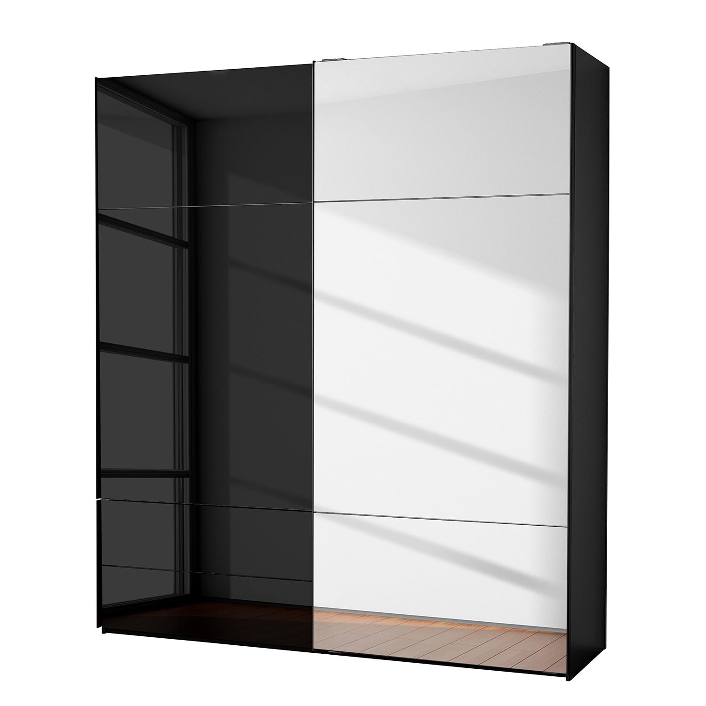 goedkoop Zweefdeurkast Samaya Zwart glas Zwart 200cm 2 deurs 223cm Met spiegeldeuren Studio Copenhagen
