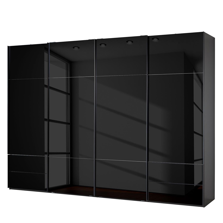 goedkoop Zweefdeurkast Samaya Zwart glas Zwart 322 cm 4 deur 235 cm Zonder spiegeldeuren Studio Copenhagen