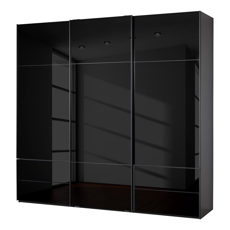 goedkoop Zweefdeurkast Samaya Zwart glas Zwart 242 cm 3 deur 223cm Zonder spiegeldeuren Studio Copenhagen