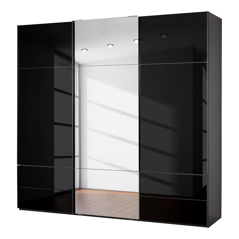 goedkoop Zweefdeurkast Samaya Zwart glas Zwart 242 cm 3 deur 235 cm Met spiegeldeuren Studio Copenhagen