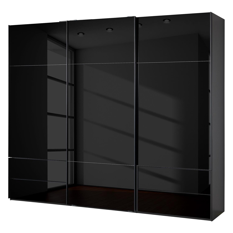 goedkoop Zweefdeurkast Samaya Zwart glas Zwart 271cm 3 deurs 235 cm Zonder spiegeldeuren Studio Copenhagen