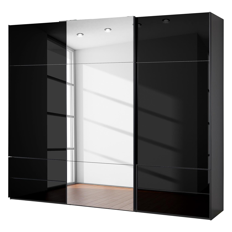 goedkoop Zweefdeurkast Samaya Zwart glas Zwart 271cm 3 deurs 235 cm Met spiegeldeuren Studio Copenhagen