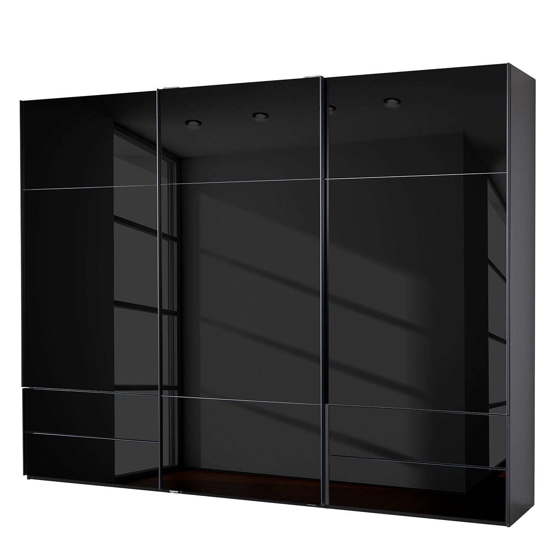 goedkoop Zweefdeurkast Samaya Zwart glas Zwart 300cm 3 deurs 223cm Zonder spiegeldeuren Studio Copenhagen