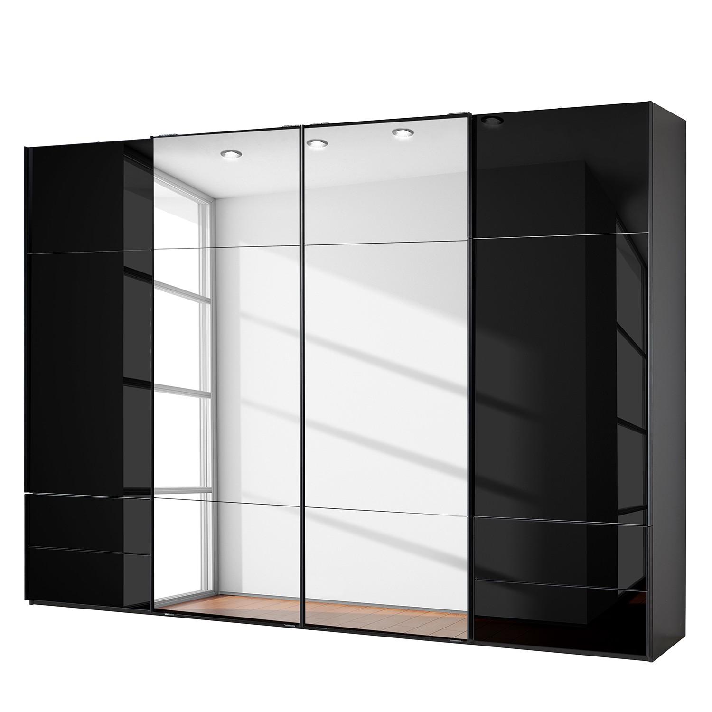 goedkoop Zweefdeurkast Samaya Zwart glas Zwart 322 cm 4 deur 223cm Met spiegeldeuren Studio Copenhagen