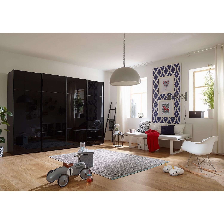 goedkoop Zweefdeurkast Samaya Zwart glas Zwart 322 cm 4 deur 223cm Zonder spiegeldeuren Studio Copenhagen