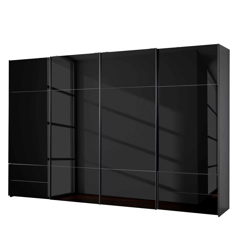 goedkoop Zweefdeurkast Samaya Zwart glas Zwart 360cm 4 deurs 223cm Zonder spiegeldeuren Studio Copenhagen