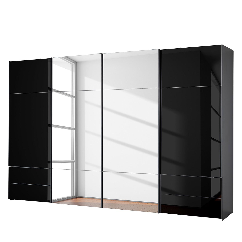 Schwebetürenschrank Samaya - Glas Schwarz / Schwarz - 360 cm (4-türig) - 235 cm - Mit Spiegeltür/-en