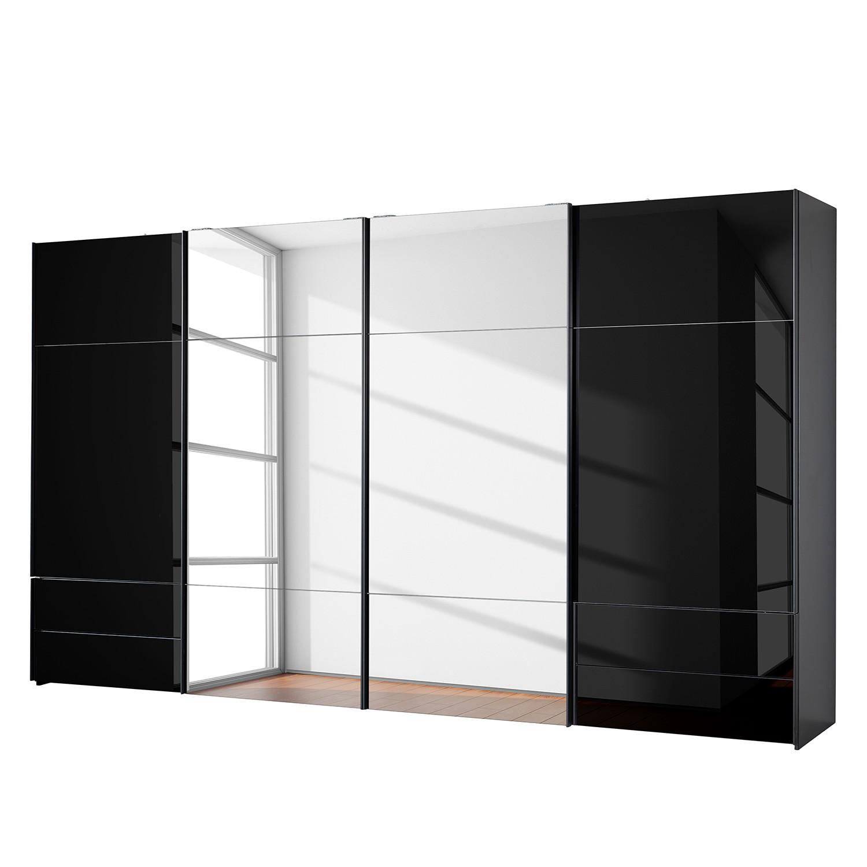 goedkoop Zweefdeurkast Samaya Zwart glas Zwart 399 cm 4 deur 235 cm Met spiegeldeuren Studio Copenhagen