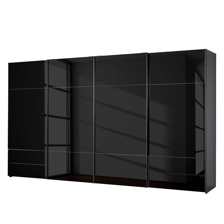 goedkoop Zweefdeurkast Samaya Zwart glas Zwart 399 cm 4 deur 235 cm Zonder spiegeldeuren Studio Copenhagen
