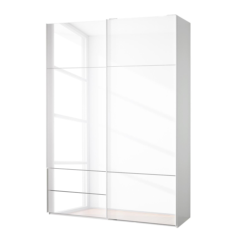 goedkoop Zweefdeurkast Samaya Wit glas wit 162 cm 2 deur 235 cm Zonder spiegeldeuren Studio Copenhagen