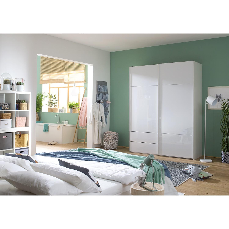 goedkoop Zweefdeurkast Samaya Wit glas wit 181cm 2 deurs 223cm Zonder spiegeldeuren Studio Copenhagen