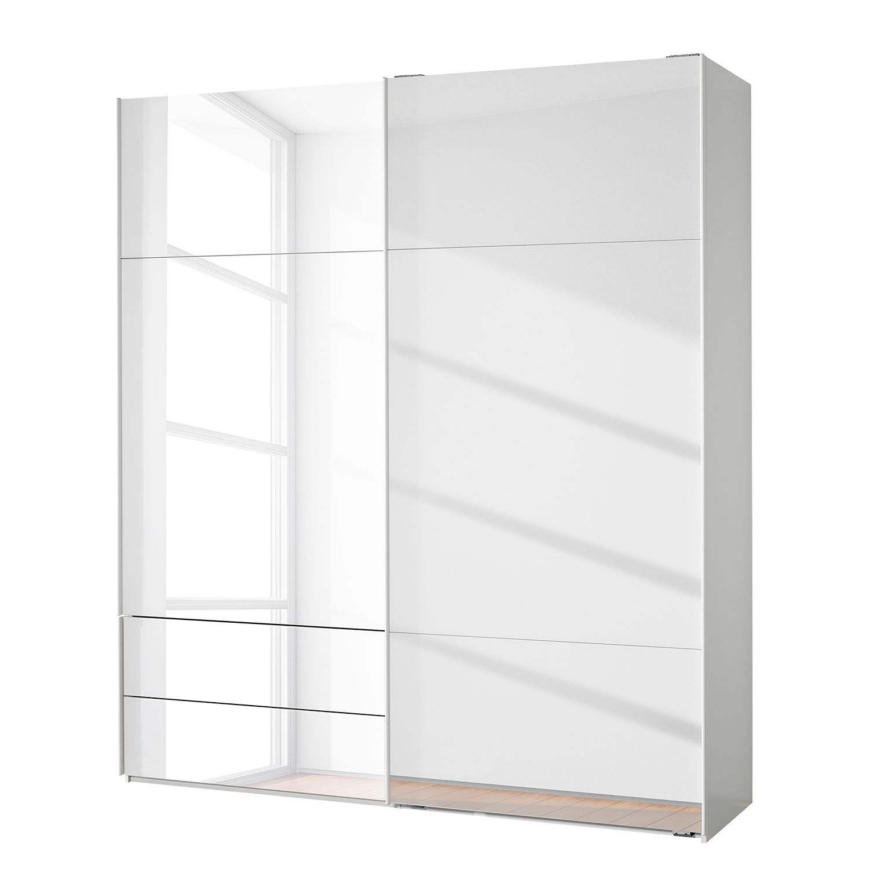 goedkoop Zweefdeurkast Samaya Wit glas wit 200cm 2 deurs 235 cm Met spiegeldeuren Studio Copenhagen