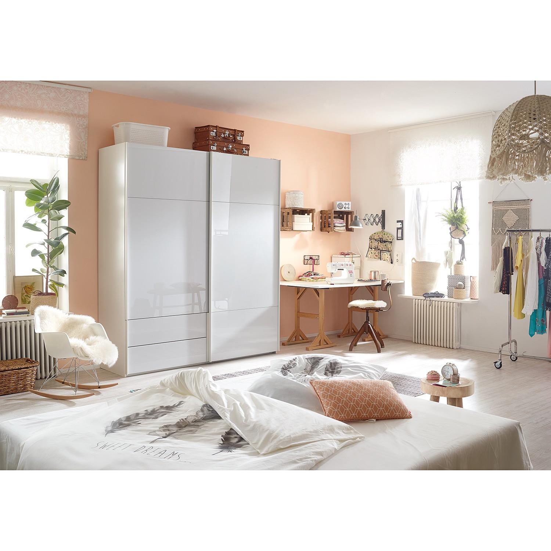 goedkoop Zweefdeurkast Samaya Wit glas wit 200cm 2 deurs 235 cm Zonder spiegeldeuren Studio Copenhagen