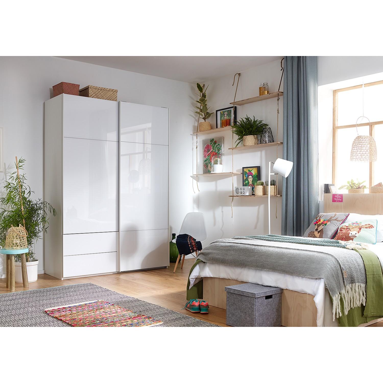 goedkoop Zweefdeurkast Samaya Wit glas wit 162 cm 2 deur 223cm Zonder spiegeldeuren Studio Copenhagen