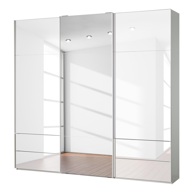 goedkoop Zweefdeurkast Samaya Wit glas wit 242 cm 3 deur 235 cm Met spiegeldeuren Studio Copenhagen