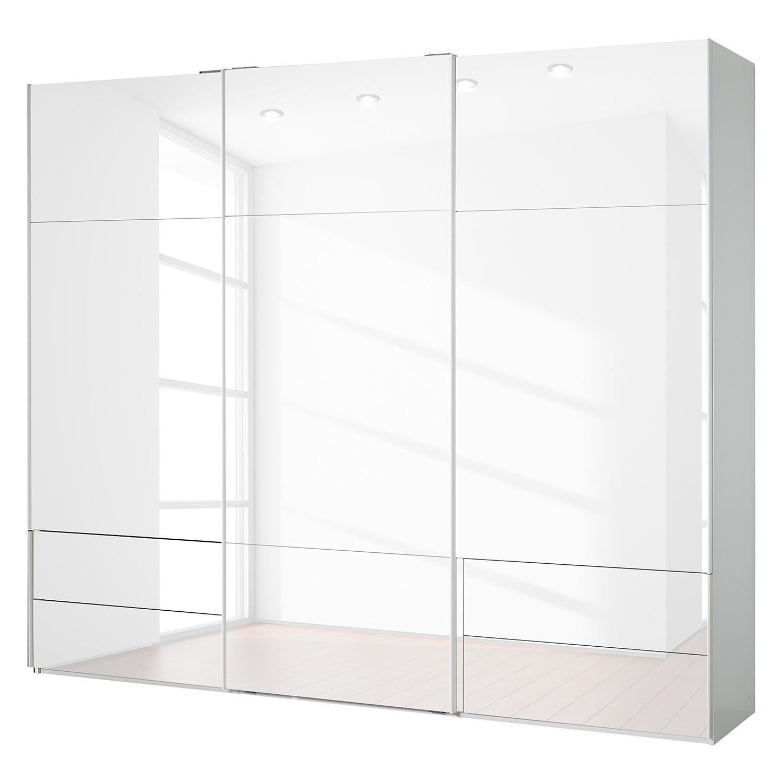 goedkoop Zweefdeurkast Samaya Wit glas wit 271cm 3 deurs 223cm Zonder spiegeldeuren Studio Copenhagen