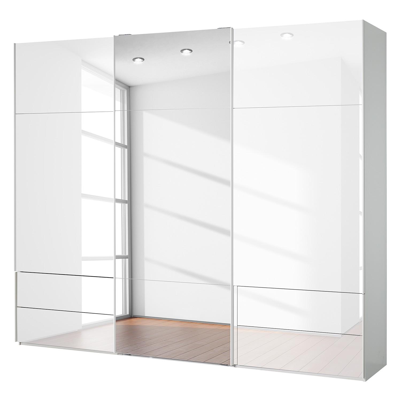goedkoop Zweefdeurkast Samaya Wit glas wit 271cm 3 deurs 235 cm Met spiegeldeuren Studio Copenhagen