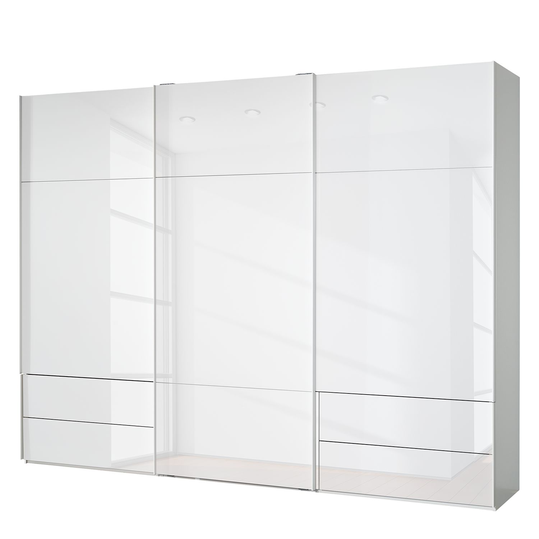 goedkoop Zweefdeurkast Samaya Wit glas wit 300cm 3 deurs 223cm Zonder spiegeldeuren Studio Copenhagen