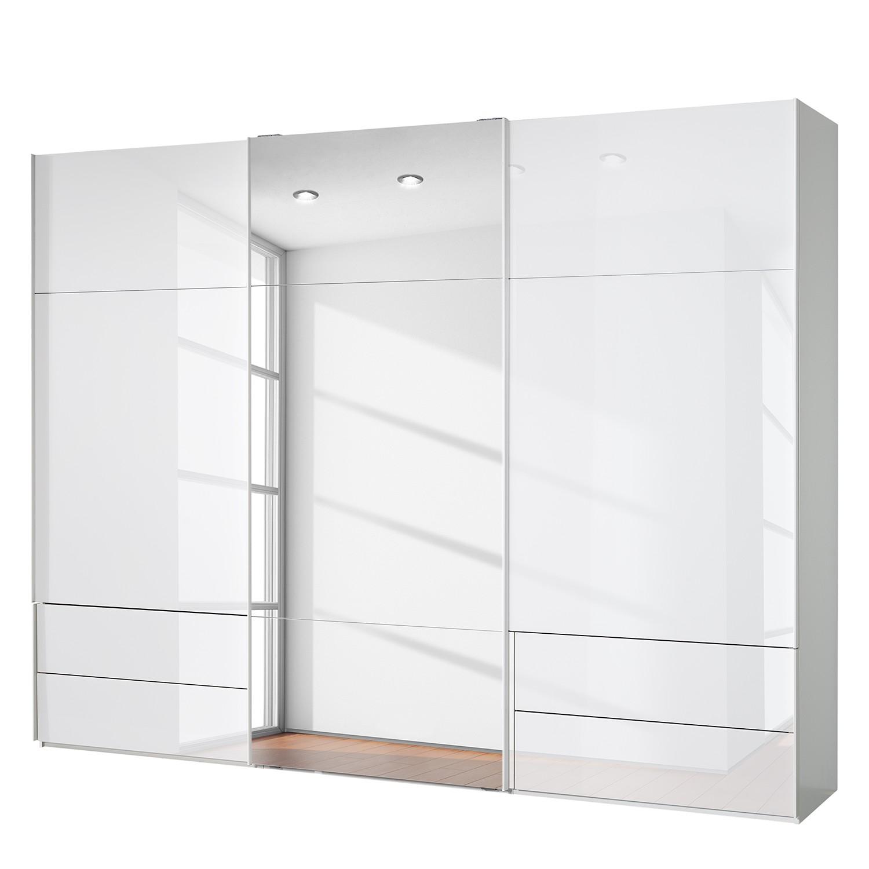 goedkoop Zweefdeurkast Samaya Wit glas wit 300cm 3 deurs 235 cm Met spiegeldeuren Studio Copenhagen