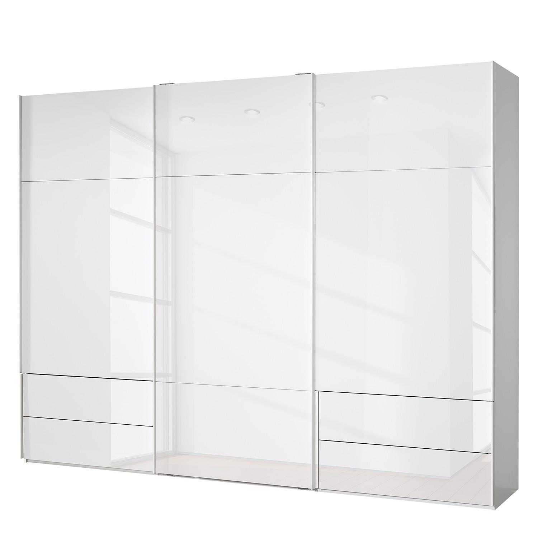 goedkoop Zweefdeurkast Samaya Wit glas wit 300cm 3 deurs 235 cm Zonder spiegeldeuren Studio Copenhagen