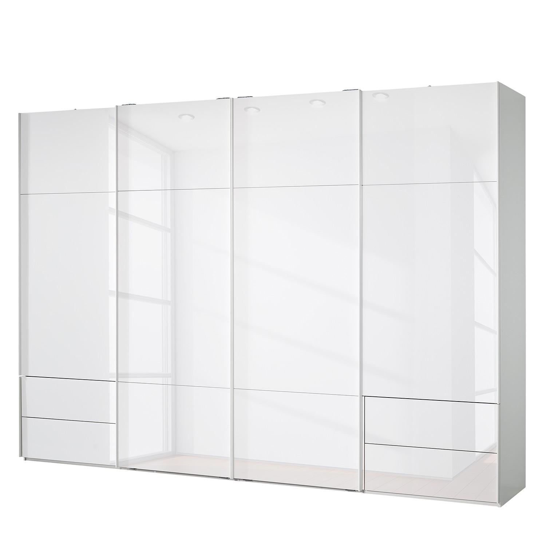 goedkoop Zweefdeurkast Samaya Wit glas wit 322 cm 4 deur 223cm Zonder spiegeldeuren Studio Copenhagen