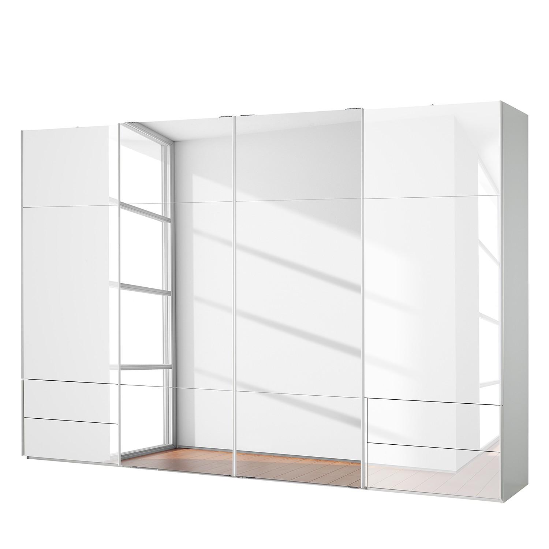 goedkoop Zweefdeurkast Samaya Wit glas wit 360cm 4 deurs 235 cm Met spiegeldeuren Studio Copenhagen