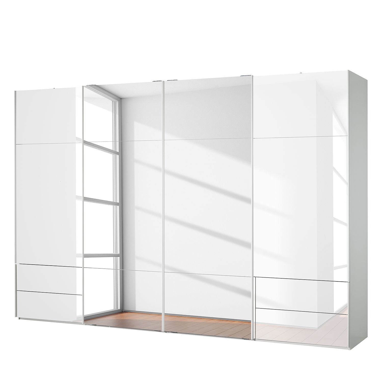 goedkoop Zweefdeurkast Samaya Wit glas wit 360cm 4 deurs 223cm Met spiegeldeuren Studio Copenhagen