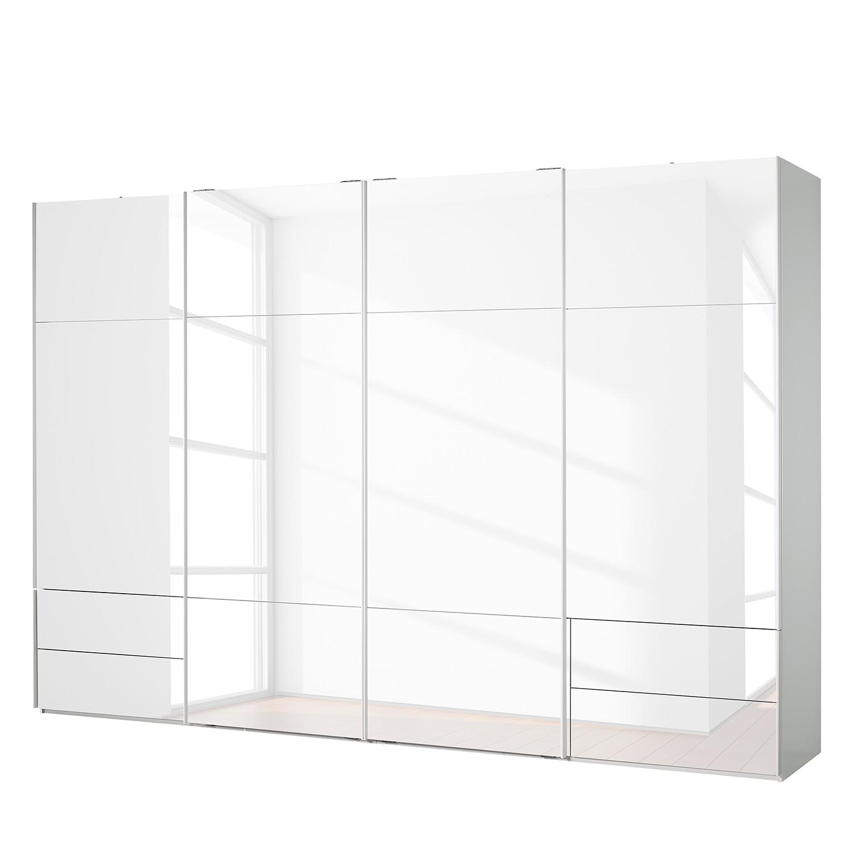 goedkoop Zweefdeurkast Samaya Wit glas wit 360cm 4 deurs 223cm Zonder spiegeldeuren Studio Copenhagen