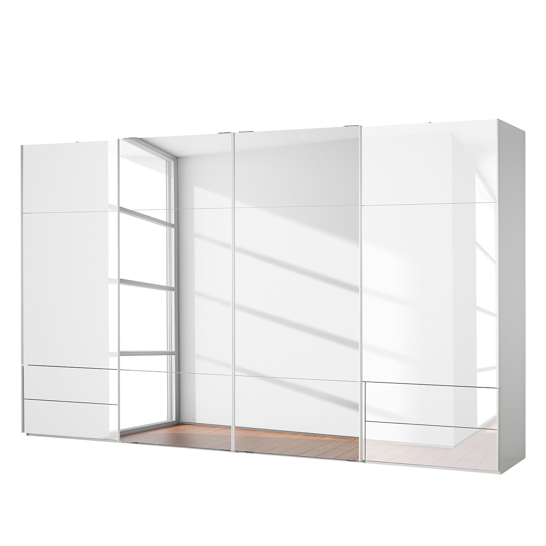 aa1548 Zweefdeurkast Samaya Wit glas wit 399 cm 4 deur 223cm Met spiegeldeuren Studio Copenhagen