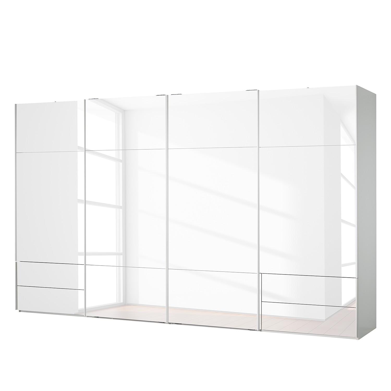 goedkoop Zweefdeurkast Samaya Wit glas wit 399 cm 4 deur 223cm Zonder spiegeldeuren Studio Copenhagen