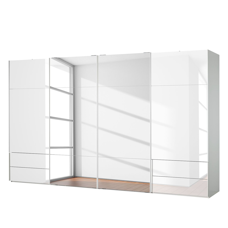goedkoop Zweefdeurkast Samaya Wit glas wit 399 cm 4 deur 235 cm Met spiegeldeuren Studio Copenhagen
