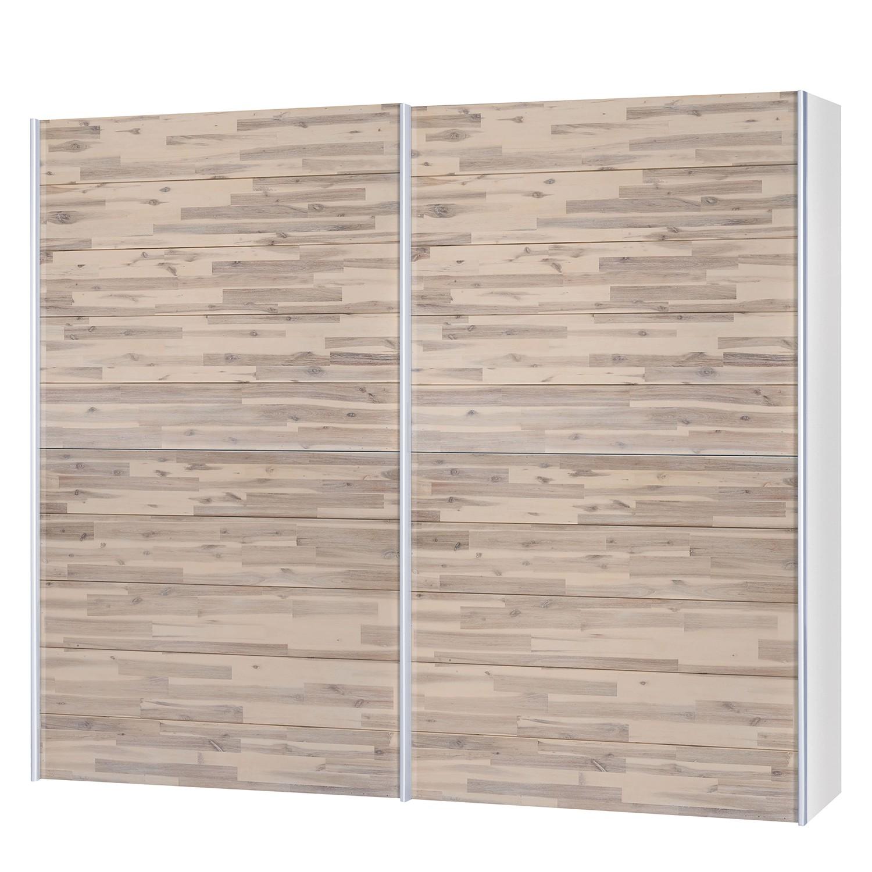 goedkoop Schuifdeurkast Santa Cruz I 2 deurs gedeeltelijk massief acaciahout gebeitst 252cm Neue Modular