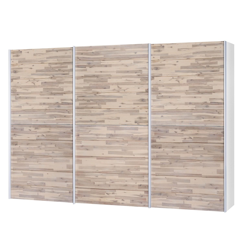 goedkoop Schuifdeurkast Santa Cruz I 3 deurs gedeeltelijk massief acaciahout gebeitst 302cm Neue Modular