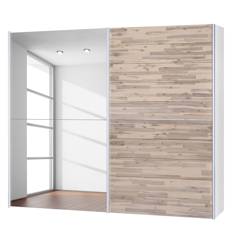 goedkoop Schuifdeurkast Santa Cruz II 2 deurs gedeeltelijk massief acaciahout gebeitst 252cm Neue Modular