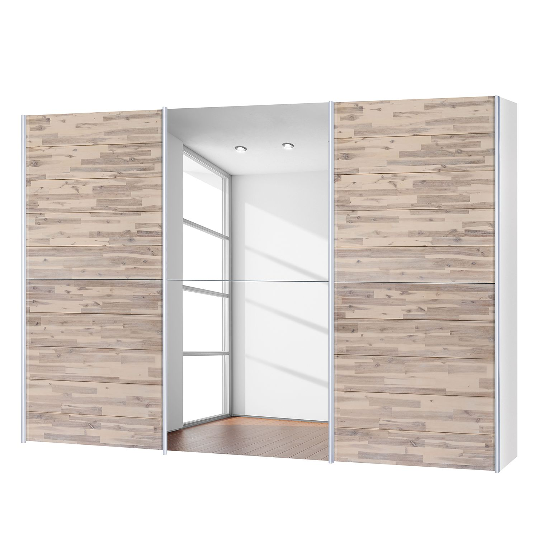 goedkoop Schuifdeurkast Santa Cruz II 3 deurs gedeeltelijk massief acaciahout gebeitst 302cm Neue Modular