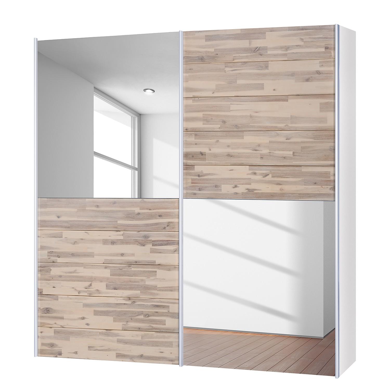 goedkoop Schuifdeurkast Santa Cruz III 2 deurs gedeeltelijk massief acaciahout gebeitst 202cm Neue Modular