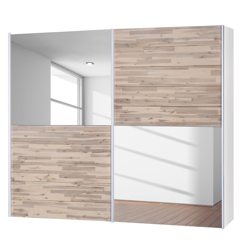 goedkoop Schuifdeurkast Santa Cruz III 2 deurs gedeeltelijk massief acaciahout gebeitst 252 Neue Modular