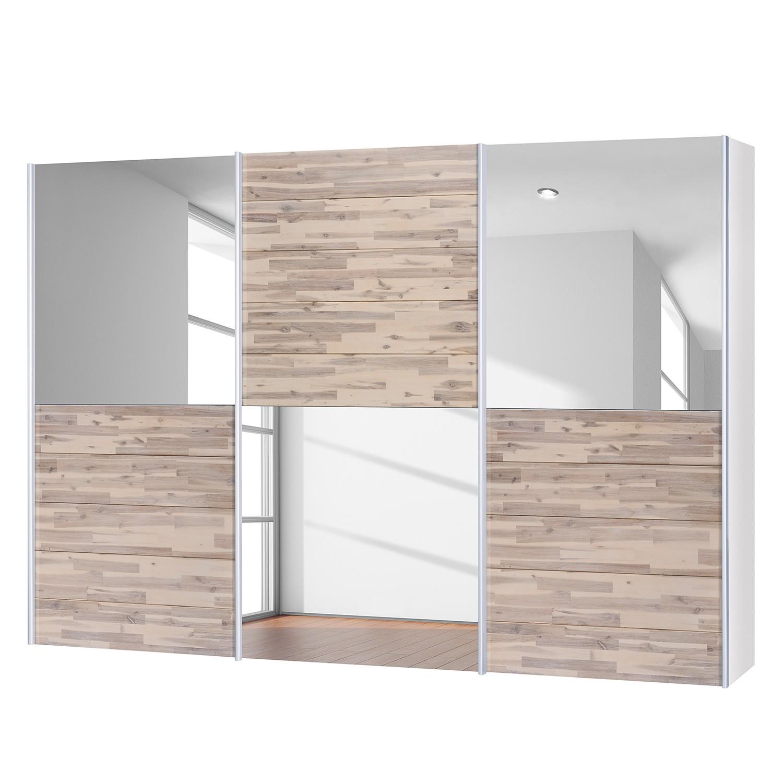 goedkoop Schuifdeurkast Santa Cruz III 3 deurs gedeeltelijk massief acaciahout gebeitst 302cm Neue Modular
