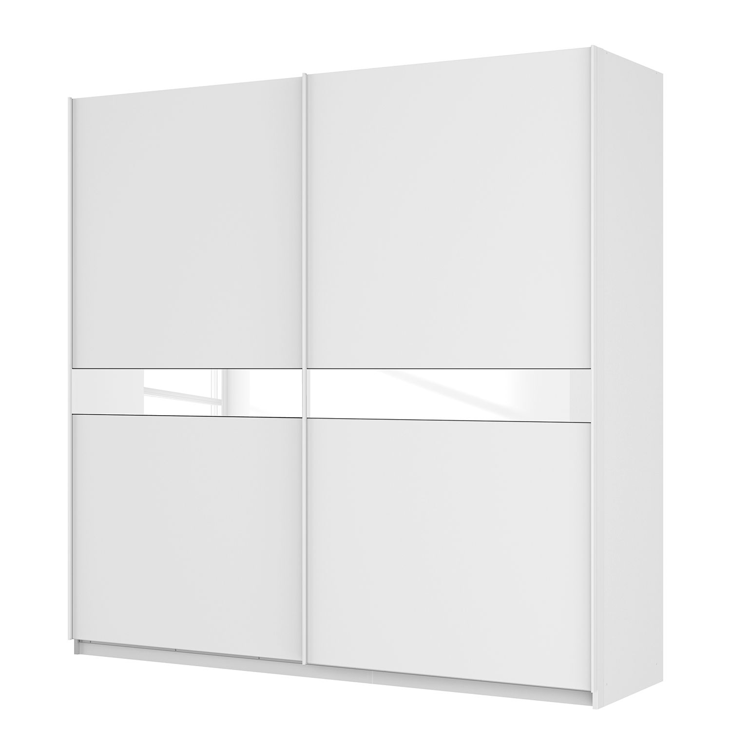 goedkoop Zweefdeurkast Skøp alpinewit wit mat glas 225cm 2 deurs 222cm Premium Skop
