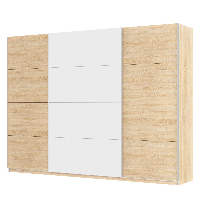 goedkoop Zweefdeurkast Skøp Sonoma eikenhouten look alpinewit 315cm 3 deurs 236cm Premium Skop
