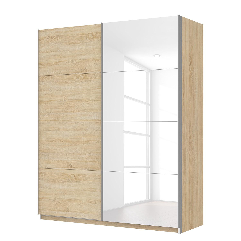 goedkoop Zweefdeurkast Skøp Sonoma eikenhouten look hoogglans wit 181cm 2 deurs 222cm Basic Skop